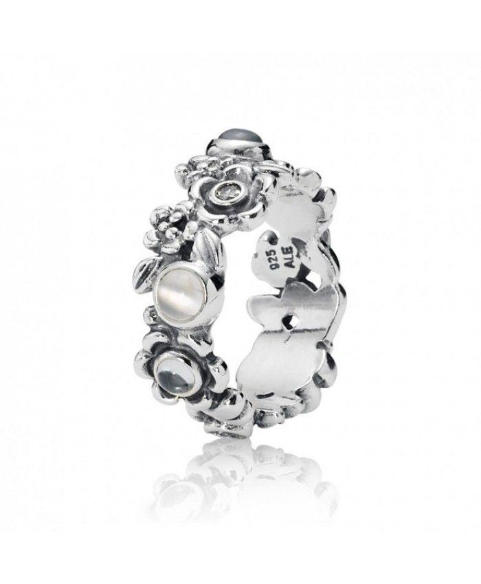 Pandora Topaz And Moonstone Flower Ring Sale