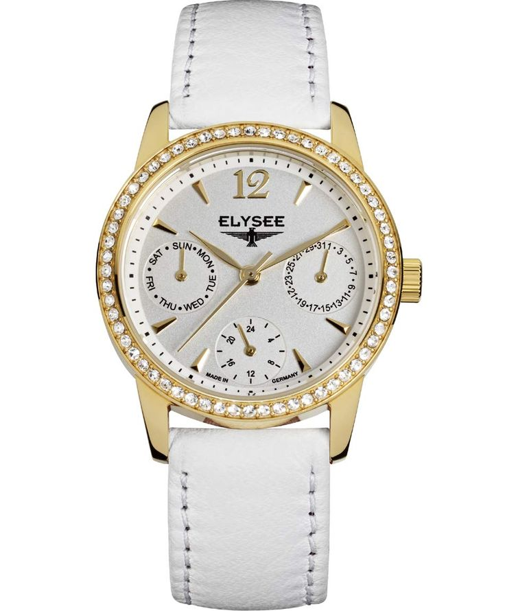 OROLOI.gr - ELYSEE Ladies Crystals White Leather Strap