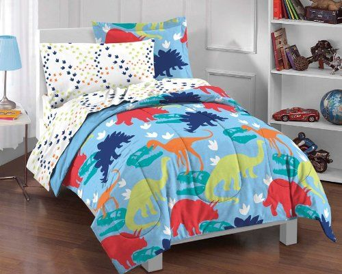 Dinosaur Bedding For Boys. Here's a complete Dinosaur Prints Multicolor 5 Piece Twin Comforter Set