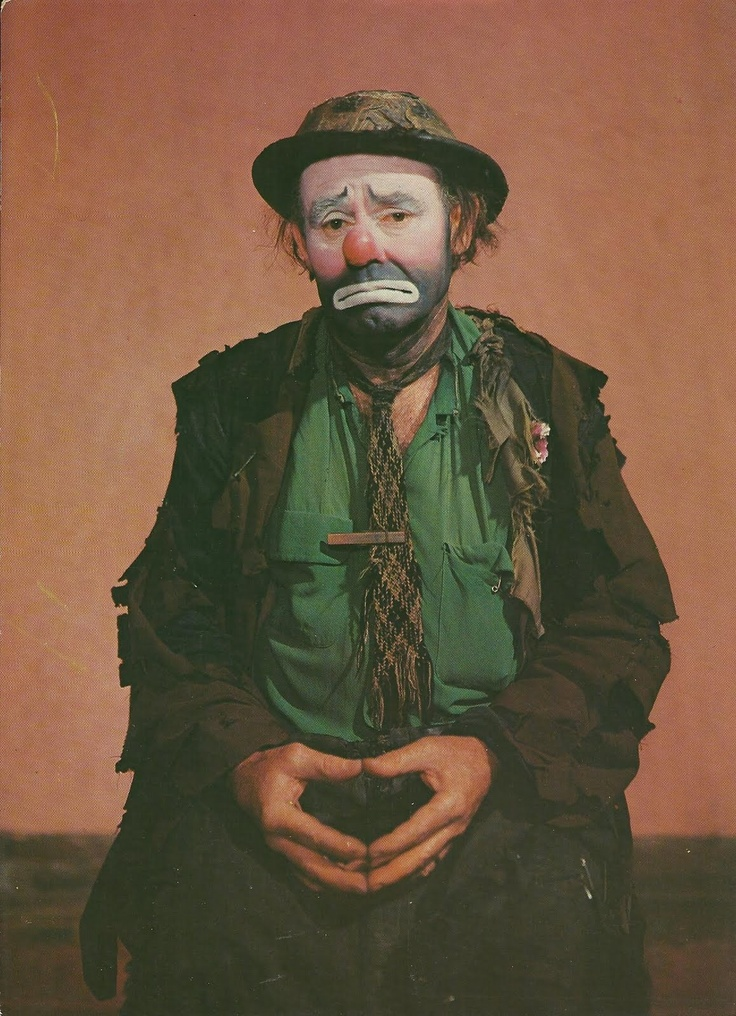 "Emmett Kelly as ""Weary Willie,"" world famous clown, photographed at Ringling Bros. and Barnum and Bailey Circus Winter Quarters, Sarasota, Florida."