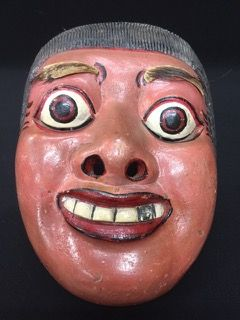 VINTAGE BALINESE TOPENG TUA HAND PAINTED WOODEN MASK WITH ANIMAL HIDE USED FOR THE EYEBROWS. 8H X 6W