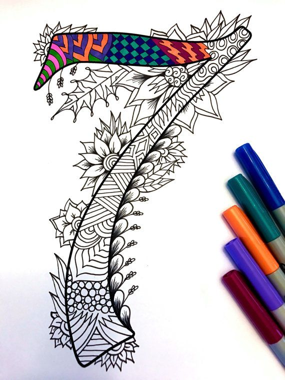 Number 7 Zentangle  Inspired by the font Harrington by DJPenscript