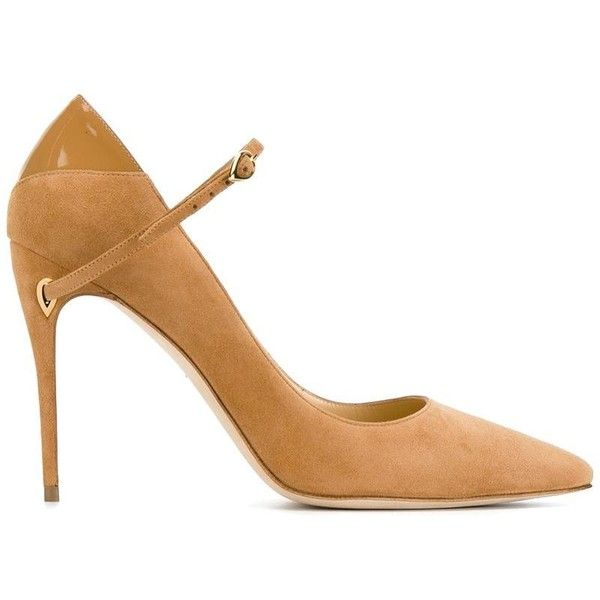 Jennifer Chamandi Camel Brown Lorenzo Pointed Heels (€595) ❤ liked on Polyvore featuring shoes, pumps, pointy toe stiletto pumps, leather shoes, pointy toe shoes, brown leather pumps and camel pumps