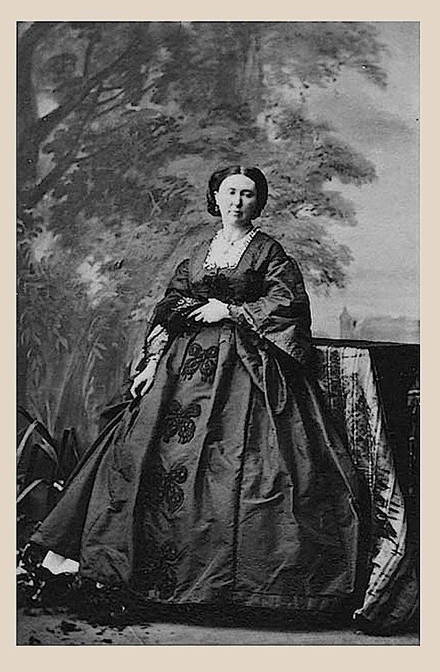 1861 (24 June)Lady  Anne Salisbury Meliora Milliken-Napier,by Camille Silvy; square-neck dress, pagoda sleeves, butterfly applicaques down the center skirt front.