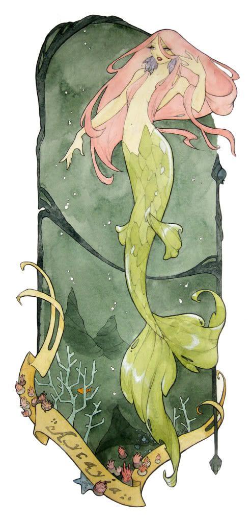 Soon to be on my wall: Art Illustrations, Art Nouveau, Sirens Mermaids, Acayia Maryannelesli, Pink Hair, Watercolor Tattoo, Artists Inspiration, Hibiscus Flower, Watercolor Mermaids