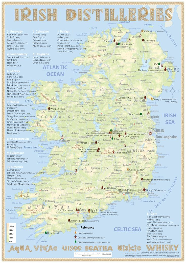 Map with all Irish Whiskey Distilleries (Edition 2014) · Medium Size: 42 x 60 cm Tasting Map Size: 24 x 34 cm www.alba-collection.de