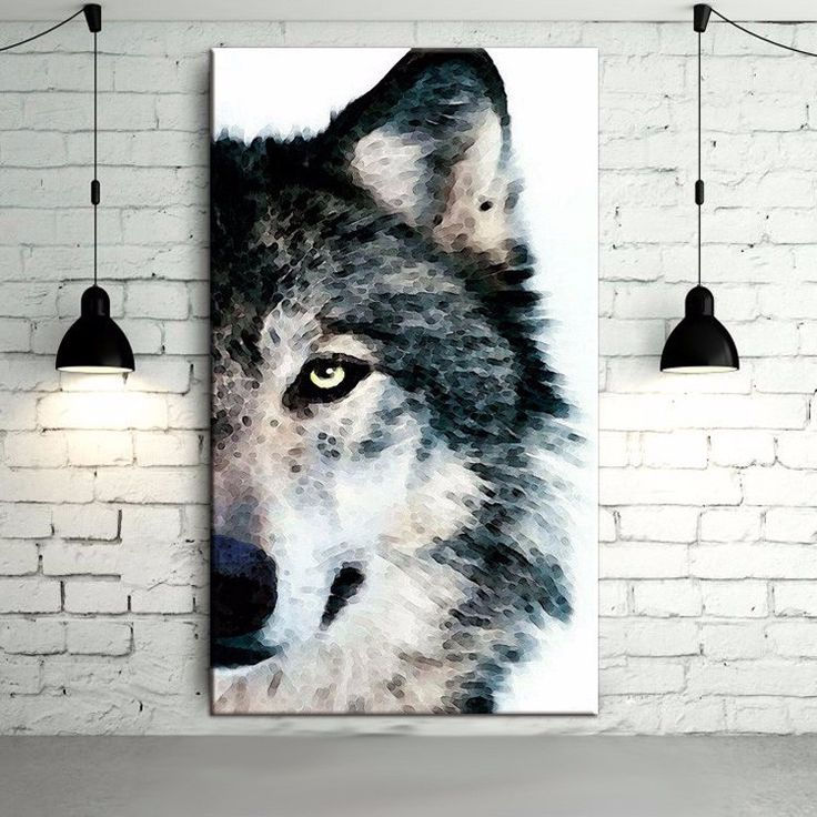 Artist 100% is gray and white abstract painting hand and black animals wolf wolf head oil on canvas Portrait Oil Painting Art