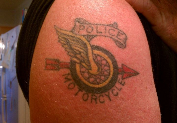 This officer got his police motorcycle tattoo after completing motor operator school in 2006. - www.policemag.com - #police