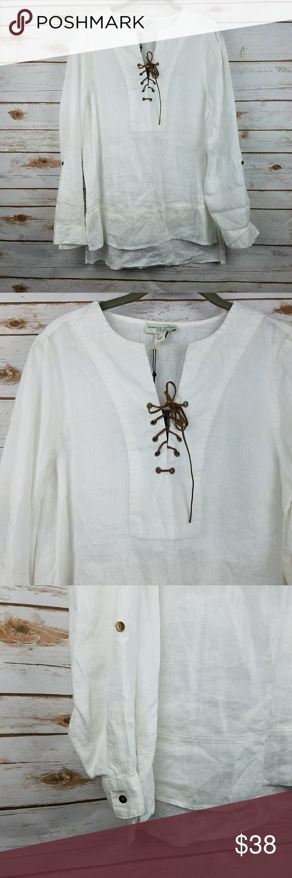 """ADRIENNE VITTADINI White Linen Lace Up Tunic Women's Adrienne Vittadini Hi-Lo White Linen Tunic Top New with tags  Tag Size: L pit to pit: 20"""" shoulder to hem (front): 26"""" sleeve length: 24"""" A5-16 Adrienne Vittadini Tops Tunics"""