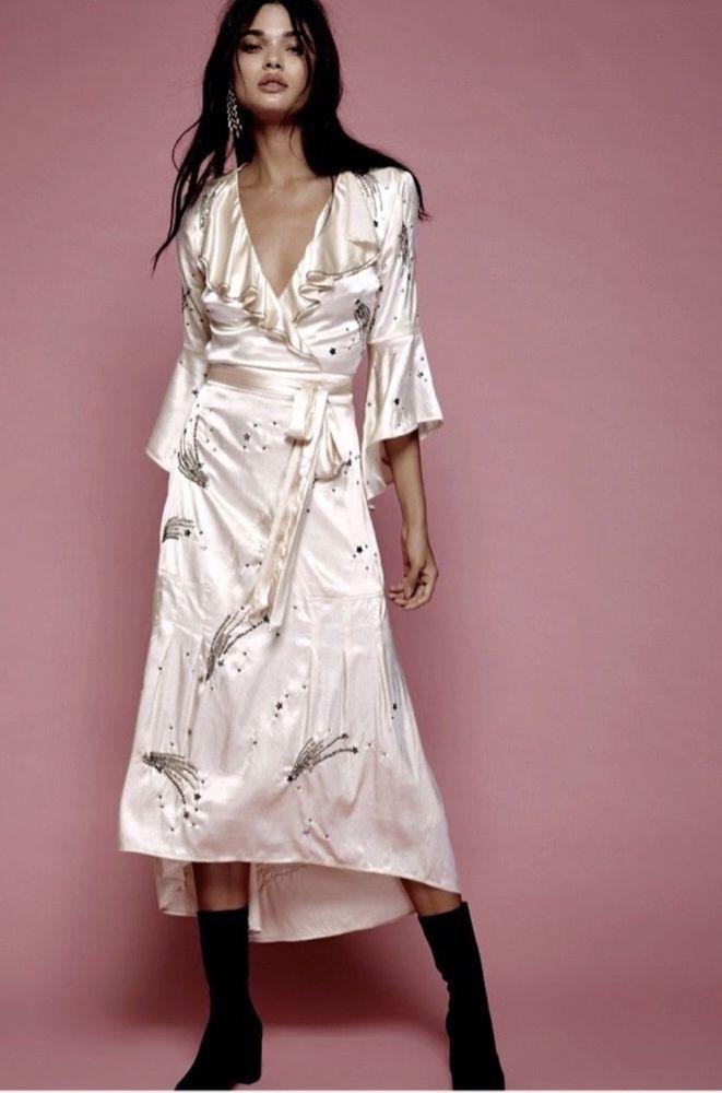 301e871eaf NWT Free People New Romantics Ivory Satin Star Jeweled Ruffle Midi Maxi  Dress 4 #FreePeopleNewRomantics #embellisheddressMaxiDress #PartyCocktail