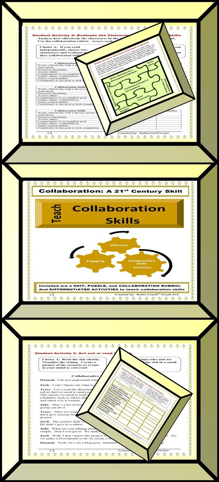 Do you teach collaboration skills to help students understand your expectations during cooperative learning assignments? Activities included a skit, a jigsaw puzzle, an evaluation of a collaboration scenario using a rubric, and a reflection activity.  Activities provide opportunity for student choice. This packet includes 6 primary assignments to include 11 differentiated learning activities or choices. PREVIEW.