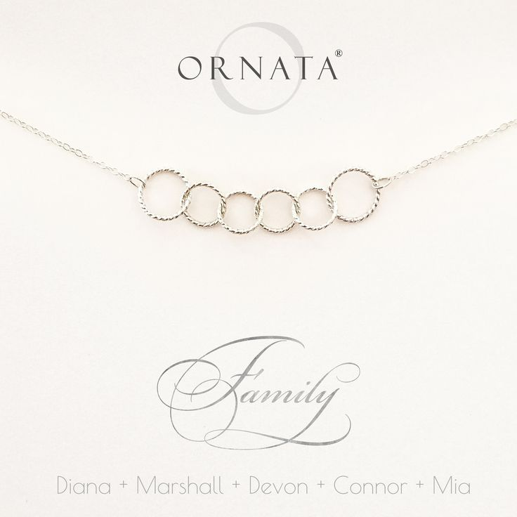 """Family of Six"" Personalized Sterling Silver Necklace 