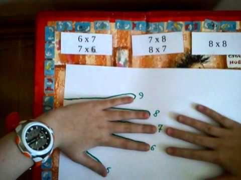 Умножение на 6, 7 и 8 на пальцах - YouTube