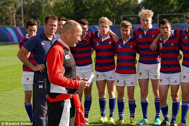 Japan head coach Eddie Jones gives a coaching session to the Warwick School rugby team