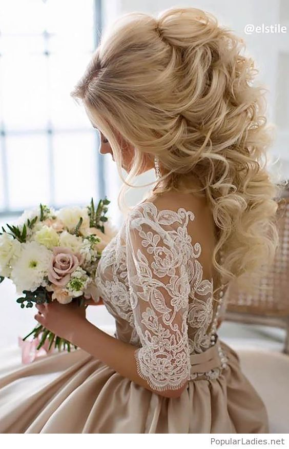 Hairstyles For Prom curly hair down prom hairstyle back view Blond Curls Hair Style For The Wedding Day