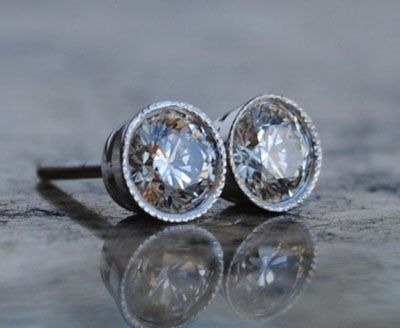 Bezel set Diamond Stud Earrings: Diamond Stud Earrings, Diamond Studs, Pretty Jewelry, Classic