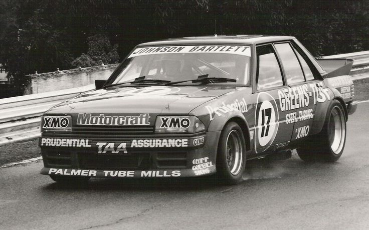Greens'-Tuf In Black and White! Dick Johnson at the 1983 Sandown endurance race in a car that typified the Group C era of touring car racing in Australia.