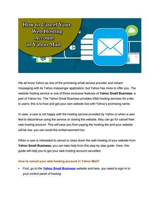 Cancel Your Web Hosting Account in Yahoo Mail