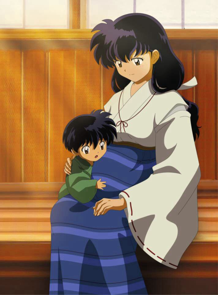 Anime Characters Pregnant Reader : Kagome with their child him touching her pregnant