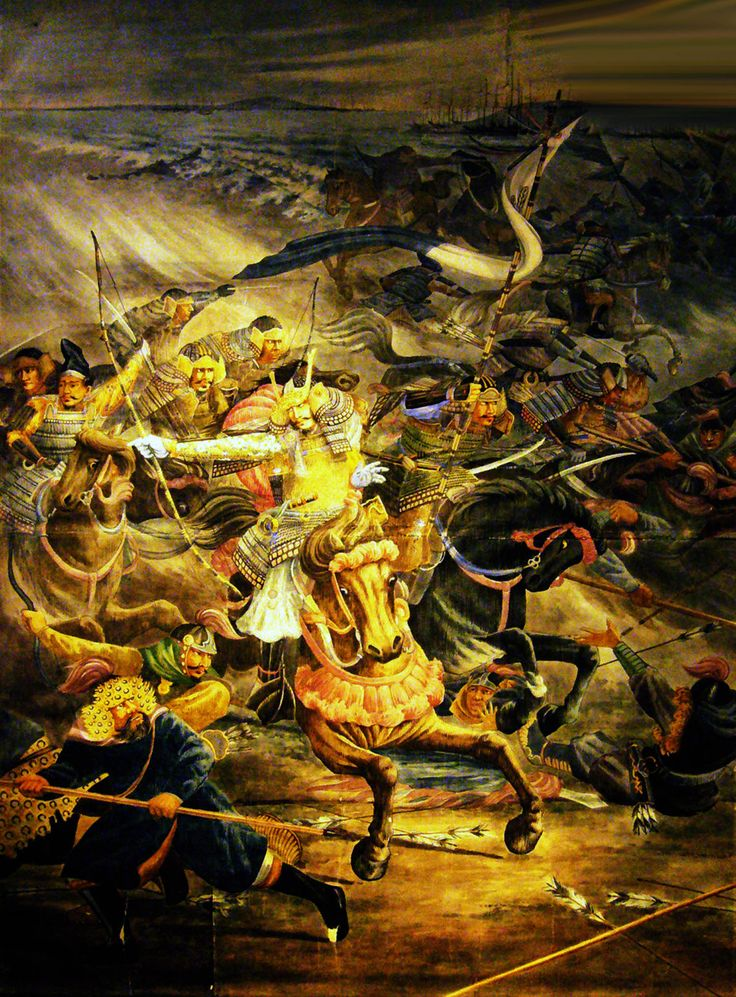 Combat between Japanese Samurais and Mongolian warriors during the Mongol Invasion of Japan