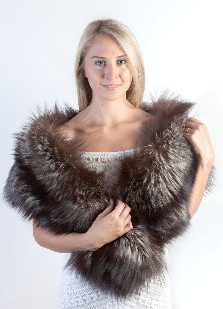 Fascinating and authentic silver fox fur stole. This elegant silver fox fur stole is perfect to keep you warm during cold winter day.  www.weddingfur.com