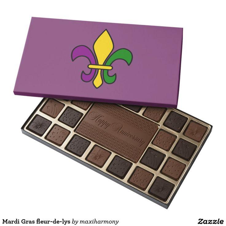 Mardi Gras fleur-de-lys 45 Piece Assorted Chocolate Box