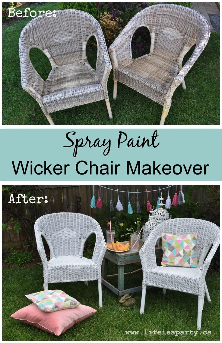 Spray Paint Wicker Chair Makeover: Easy how-to spray paint wicker.
