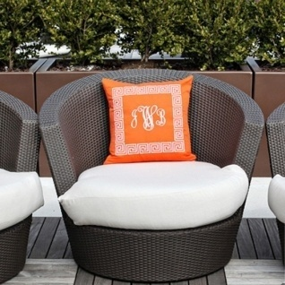 Orange Monogram Pillow! Available with a variety of styles and thread colors!    Shop be. designs: www.bedesignsshop... $85: Pillow Talk, Orange Monogram, Monogram Pillows, Thread Colors, Shops, Www Bedesignsshop Com 85, Styles, Monograms, Variety
