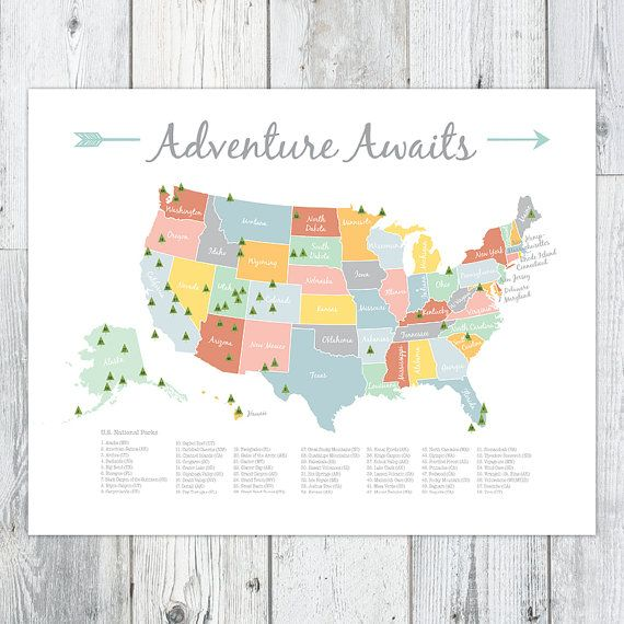 Adventure Awaits colorful US National Parks map for a nursery or playroom. Little explorer or wilderness room