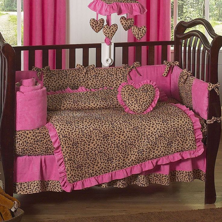 leopard baby shower cakes | Cheetah Hot Pink and Leopard Print 9 Piece Crib Bedding Set