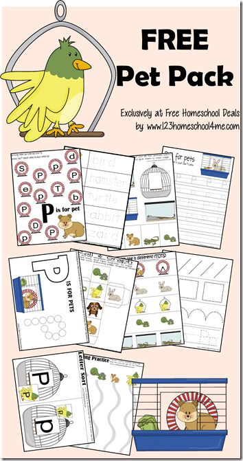 This free printable set is brought to you by Beth of 123Homeschool4Me!  Children love pets. And besides being cute and fun to watch, pets actually can teach