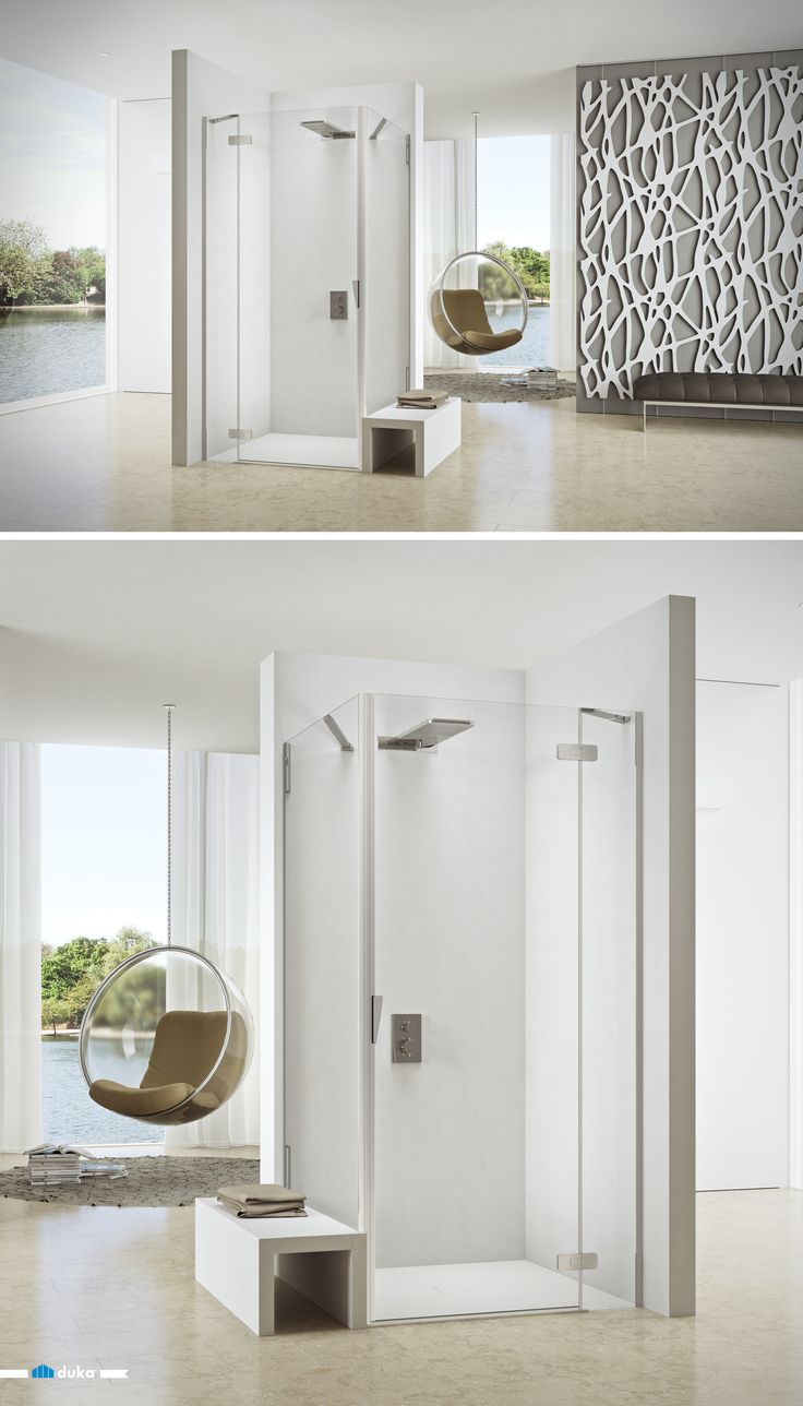pura 5000 • this room finds its matching shower enclosure: weightless contemporary design expressed by the elegant hinges. A piece of luxury for your bathroom design!