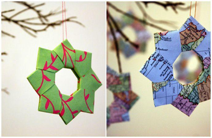 Adornos para el rbol con forma de estrella de papel - Estrella para arbol de navidad ...