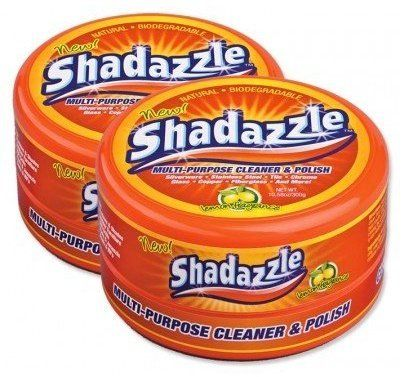 Shadazzle Multi Purpose Cleaner and Polish- 2 Tubs by Shadazzle. $12.93. Natural, clay-based product which is non-toxic & has a pleasant lemon fragrance.. One step process which gets rid of of grime & mess on any surface!. Multi-purpose cleaner & polish which is environmentally friendly, containing no harmful chemicals or phosphates. Cleans, polishes & protects a variety of surfaces, including glass top stoves, stainless steel refrigerators, silver, brass, copper, a...