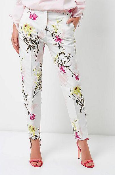 #River #Island #broek #pantalon #wit #bloemetjes #print #romantisch