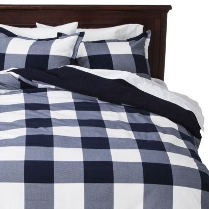 Threshold Flannel Duvet Cover Set Navy Check Would Be