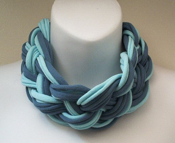 Multi Strand Scarf Necklace Mint & Teal 567