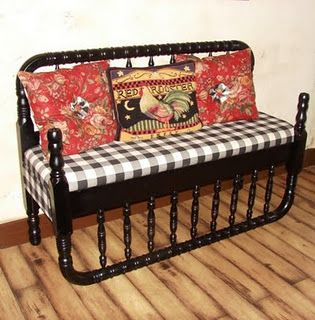 Farm house chic! A sweet bench created from a full sized jenny lynn head and foot board. Yum!