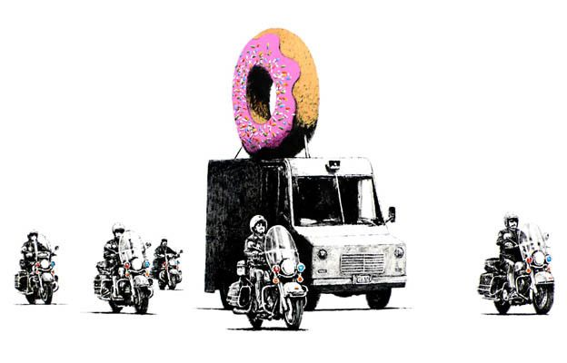 "Banksy puts his spin on the ""doughnut-loving cop"" cliche in this awesome street art poster! Ships fast. 11x17 inches. Check out the rest of our great selection of Banksy posters! Need Poster Mounts..?"