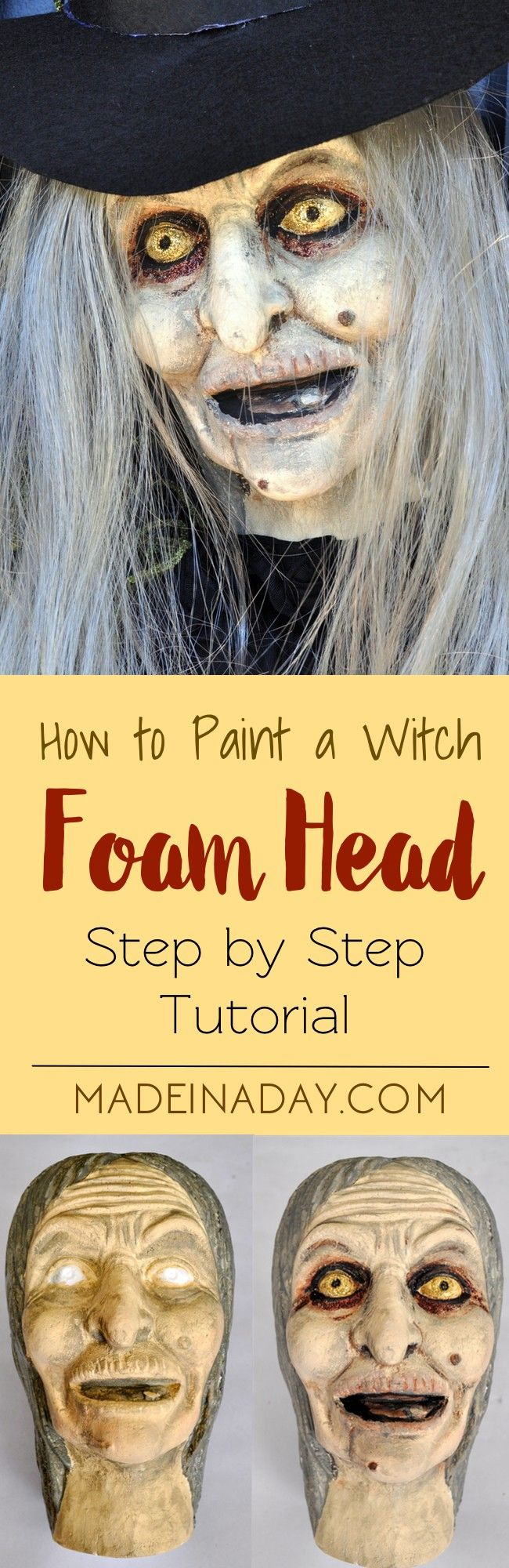 Wicked Witch Halloween Wreath Paint a foam witch head and add a grey wig and make it the centerpiece to a Halloween Wreath, paint a witch face, tutorial on madeinaday.com via @thelovelymrsp