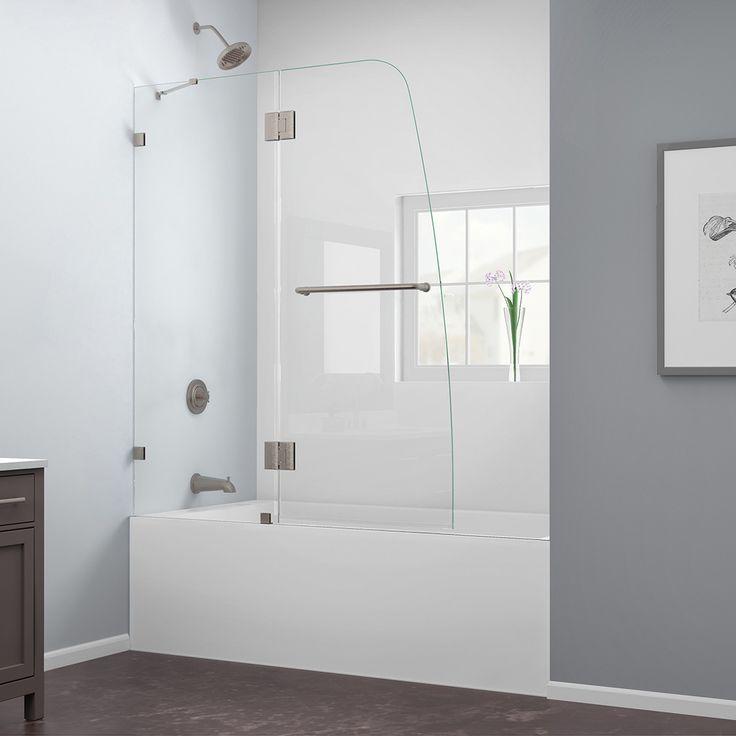 "DreamLine SHDR-3348588-04 AquaLux 48"" Frameless Tub Door, Clear 5/16"" Glass, Nickel Finish"
