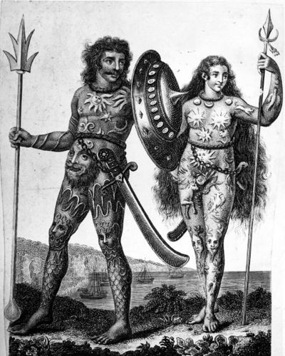 "The Picts, early inhabitants of Scotland. Pict actually means ""painted people"". ""Pict"" was the name of the people who lived in Scotland before the Scots invaded from Ireland, that's right the tribe known as the Scots are Irish. The two lived together and gradually merged until the picts disappeared as a distinct people."