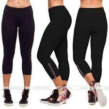Womens Girls Capri Running Yoga Sport Pants High Waist Cropped Leggings Fitness
