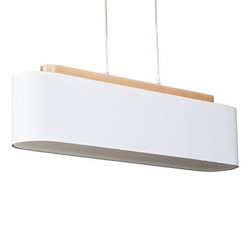 Semplice lampadario in legno con paralume in tessuto imbozzimatura Design, 4 x E27 max, 60 W, larghezza 90 cm, legno/Tessuto, bianco: Amazon.it: Illuminazione