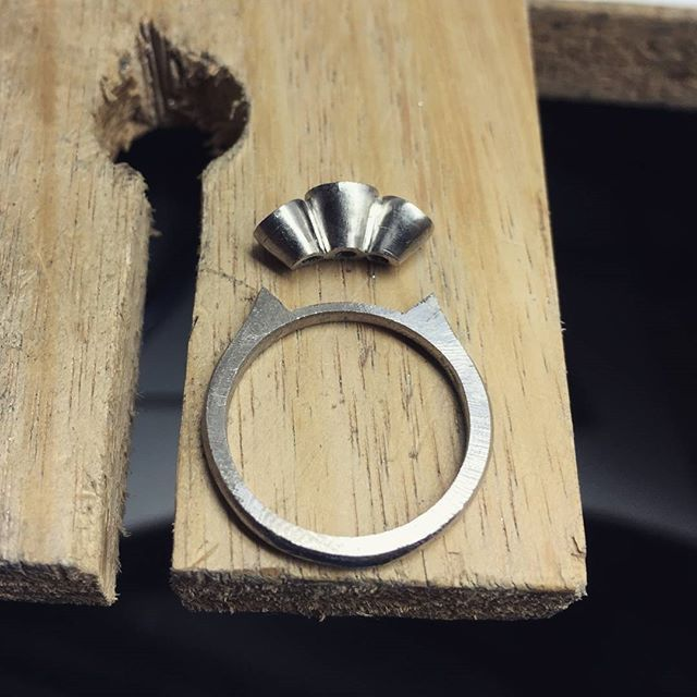 Ready to be pieced together into a 3-stone ring. #harlequinjewellers #ring #workshop