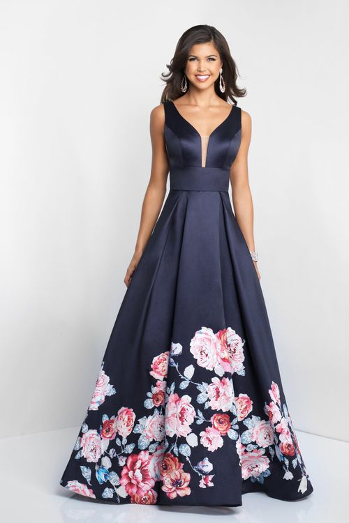 Blush - Plunging V-Neck Floral Printed Mikado Gown (sleeveless, seams, mikado, box pleats, wide inset band, V-cut open back, back zipper closure, full length hem, plunging V-neck, empire waist, A-line skirt)