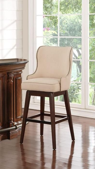 """The soft curved lines of the Leona 30"""" Swivel Counter Stool are gentle and inviting. The 360-degree swivel allows you to turn your attention in any direction, making it ideal for entertaining."""