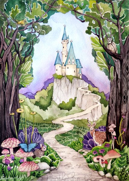 Castle Watercolor Painting Art Print Snow White The