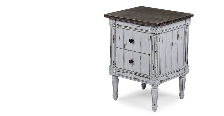 Bourbon Vintage Bedside Table, Distressed Grey