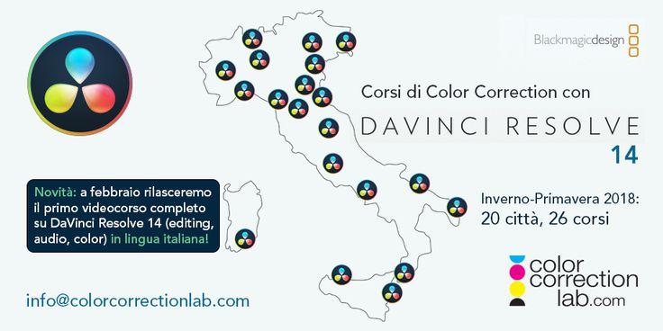 Corsi DaVinci Resolve 14 nel 2018, Color Correction Lab, Color Correction & Grading con il software DaVinci Resolve 14 tenuti da Daniele Paglia